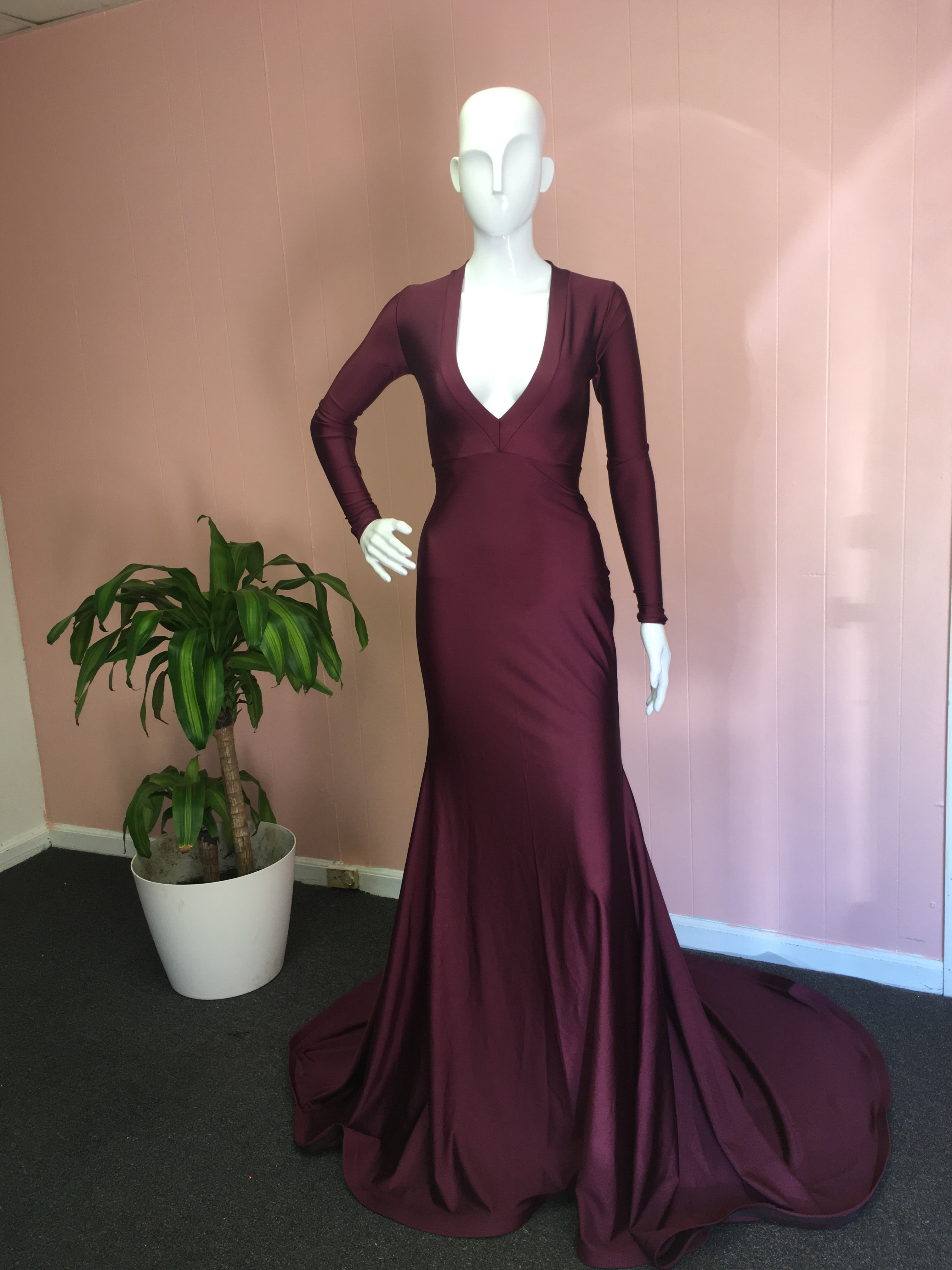 Deep V Gown – SHARON WEST COLLECTION