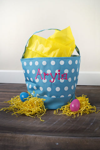 Spring Bucket - Blue with White Polka Dots