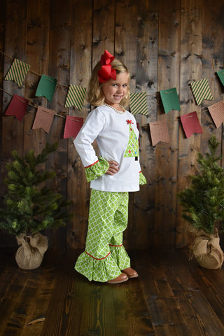 Green Christmas Tree Pant Set