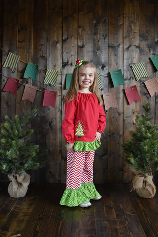 Red Chevron Christmas Tree Pant Set