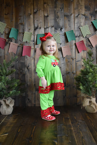 Green Christmas Truck Pant Set