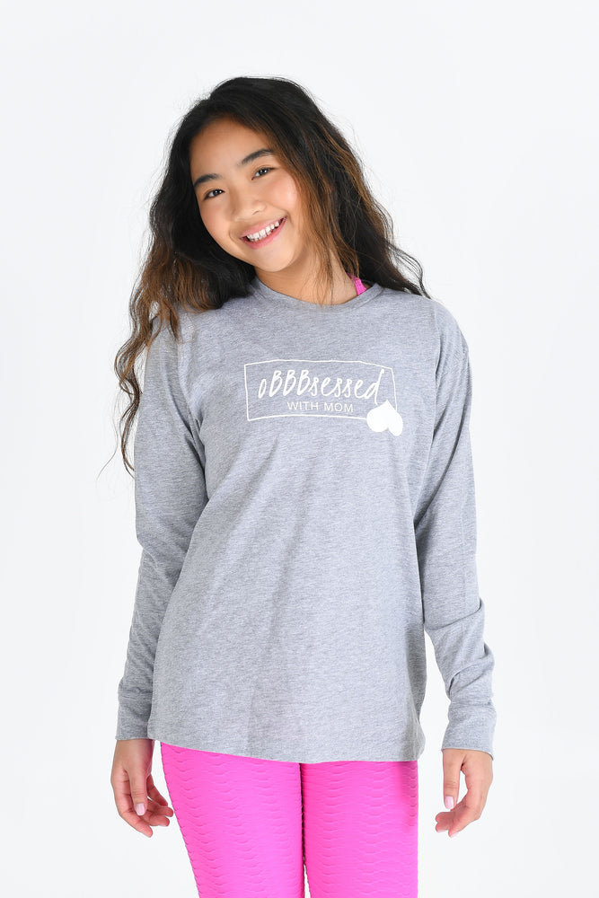 oBBBsessed with Mom Tee Grey