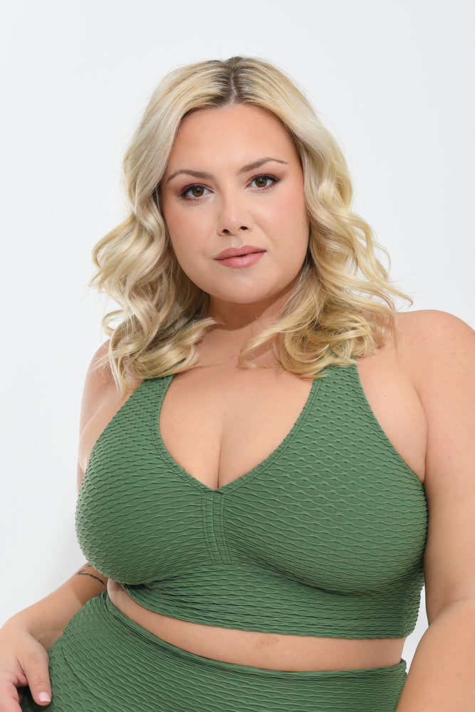 Croco Skin Curvy Top Sage
