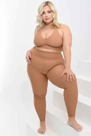 Load image into Gallery viewer, Croco Skin Curvy Leggings Caramel