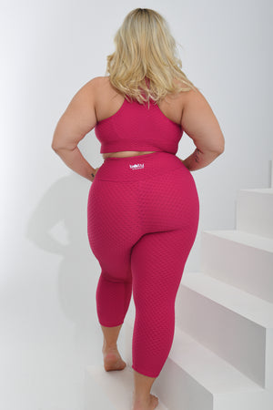 Load image into Gallery viewer, Croco Skin Curvy Cropped Leggings Raspberry