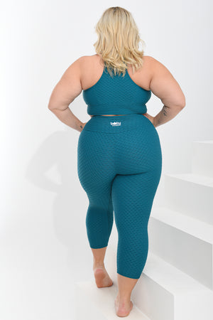 Load image into Gallery viewer, Croco Skin Curvy Cropped Leggings Turquoise