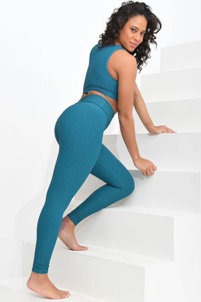 Load image into Gallery viewer, Croco Skin Leggings Turquoise