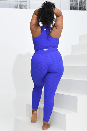 Croco Skin Curvy Leggings Blue Violet