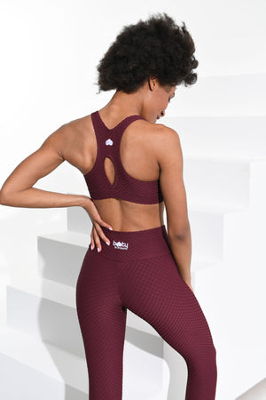 Croco Skin Cropped Leggings Merlot