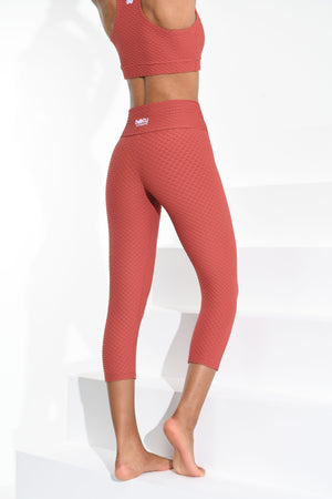 Croco Skin Cropped Leggings Canela