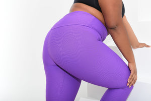 Curvy Mermaid Leggings Purple Daisy