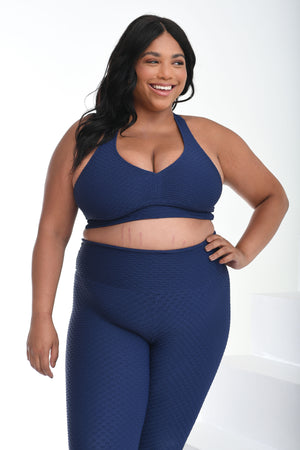 Curvy Cropped Croco Skin Midnight Blue