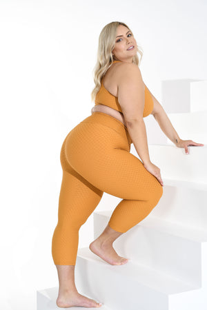 Load image into Gallery viewer, Croco Skin Curvy Cropped Leggings Honey