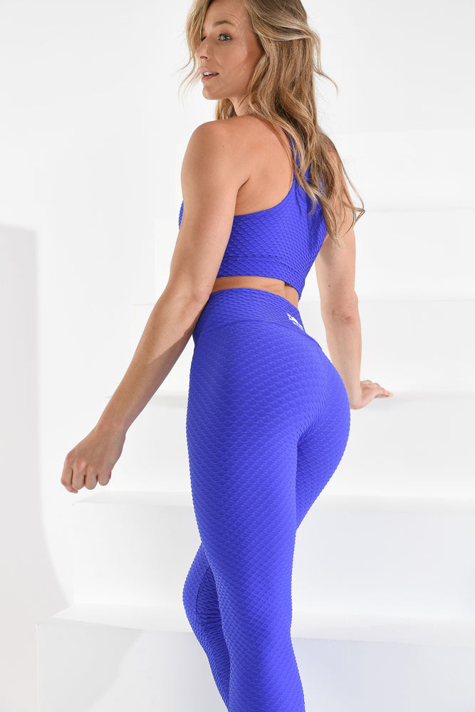 Croco Skin Leggings Blue Violet