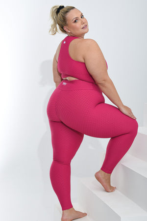 Croco Skin Curvy Leggings Raspberry