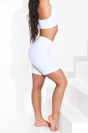 Croco Skin Shorts White