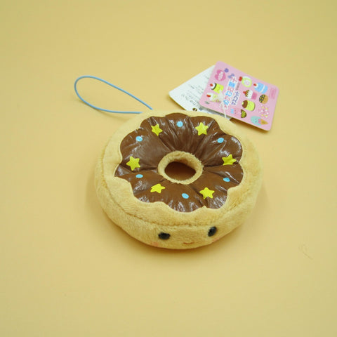 Mini Chocolate Donut Plush Keychain