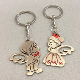 Angel Bride and Groom Couples Keychain 2 Pieces