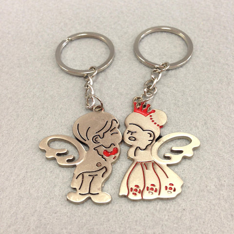 Angel Bride and Groom Couples Keychain