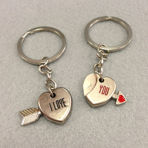 'I Love You' Heart and Arrow Couples Keychain