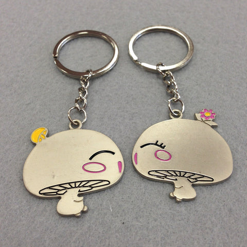 Kissing Mushrooms Couples Keychain