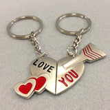 'Love You' Heart and Arrow Couples Keychain