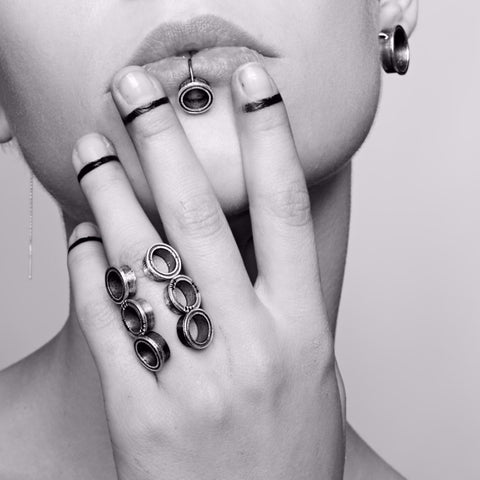 silver extensions HOLES OPEN RING by ADI LEV design