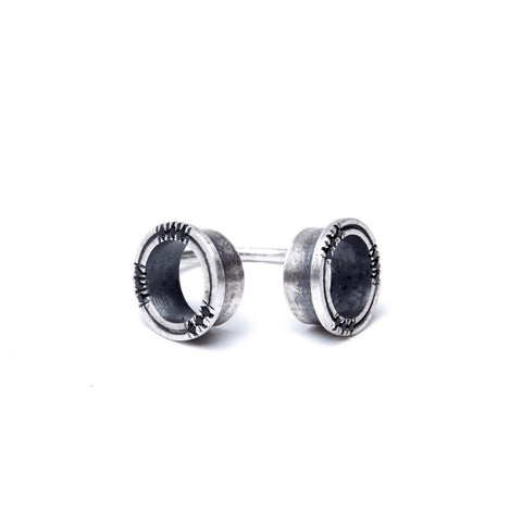 BLACK STONE HOLES OPEN RING by ADI LEV design