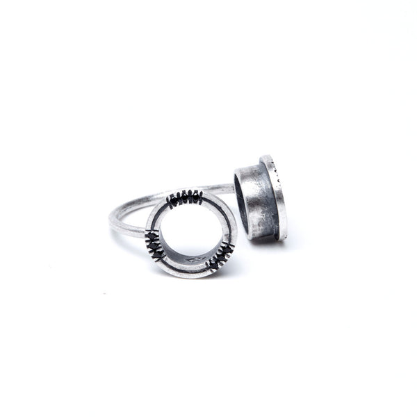 BLACK STONE sterling silver HOLES OPEN RING by ADI LEV design