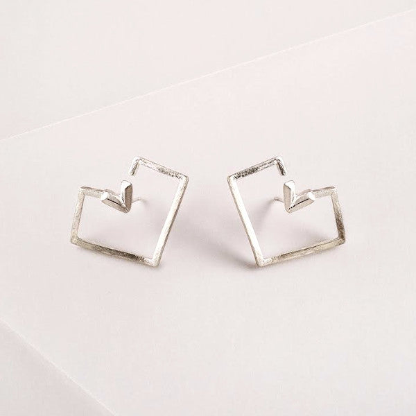 PIXELATED HEART shape silver  EARRINGS by ADI LEV design