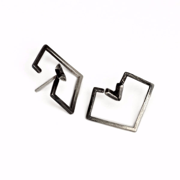 PIXELATED HEART shape EARRINGS by ADI LEV design