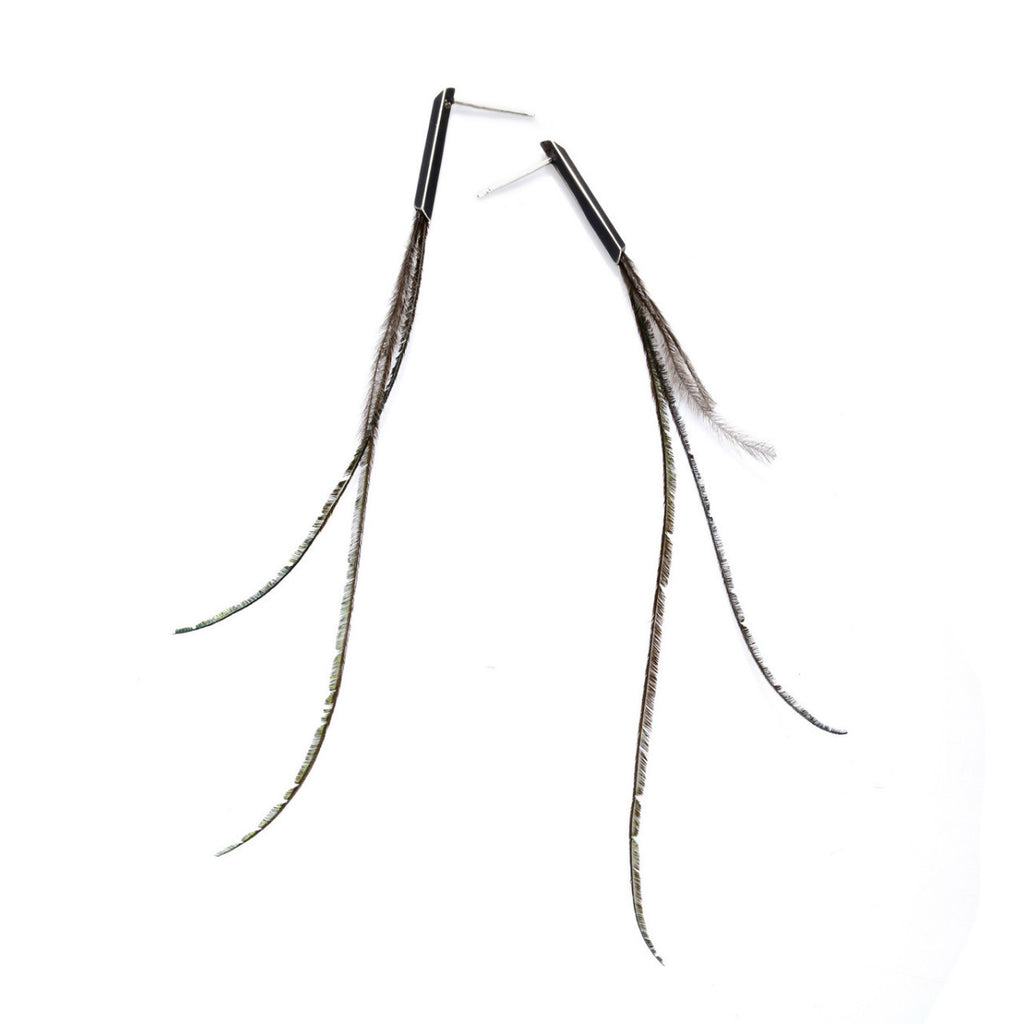 FEATHERS SQUARE PROFILE EARRINGS
