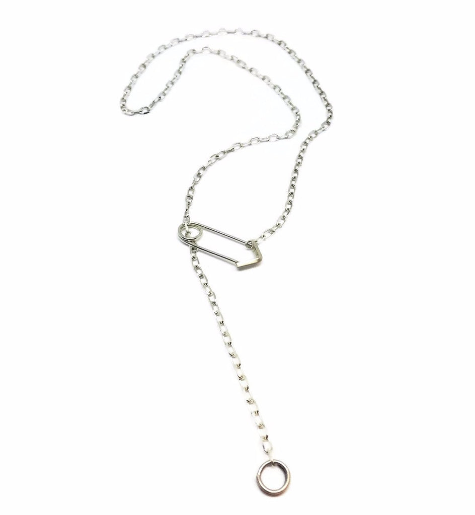 Y necklace lariat necklace SHORT SAFETY PIN PENDANT NECKLACE
