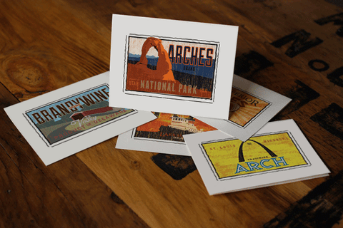 arches national park fruit crate label notecards