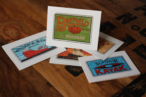 bayfield wisconsin fruit crate label notecards