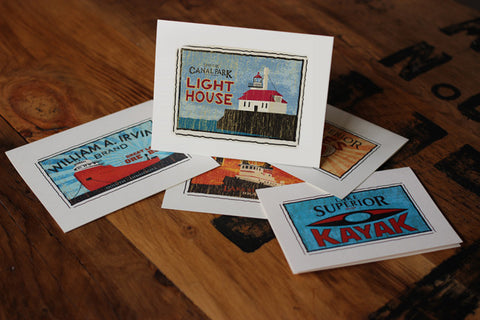 canal park lighthouse fruit crate label notecards