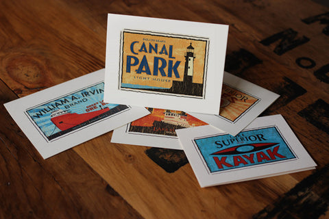canal park fruit crate label notecards
