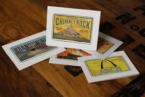 chimney rock fruit crate label notecards