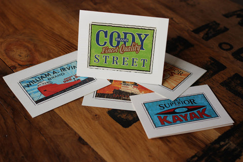 cody street fruit crate label notecards