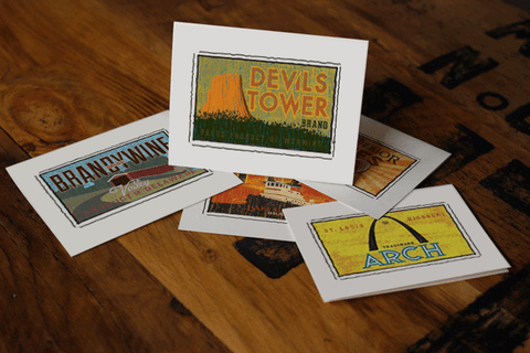 devils tower fruit crate label notecards