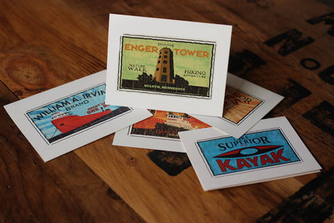 enger tower fruit crate label notecards