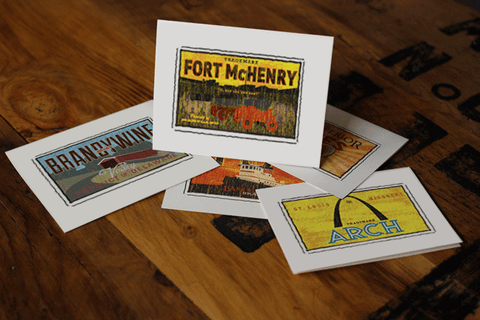 fort mchenry fruit crate label notecards