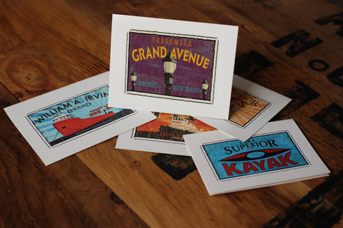 grand avenue duluth fruit crate label notecards