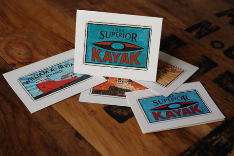 lake superior kayak fruit crate label notecards