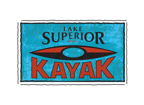 lake superior kayak fruit crate label