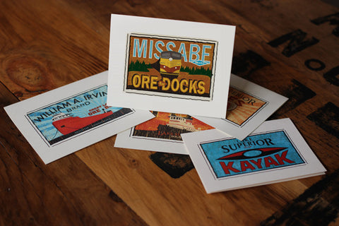 missabe ore docks fruit crate label notecards
