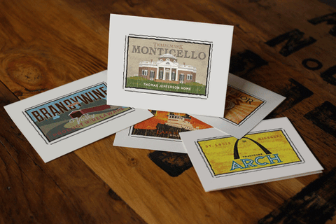 monticello fruit crate label notecards