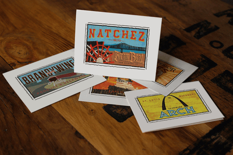 natchez steamboat fruit crate label notecards