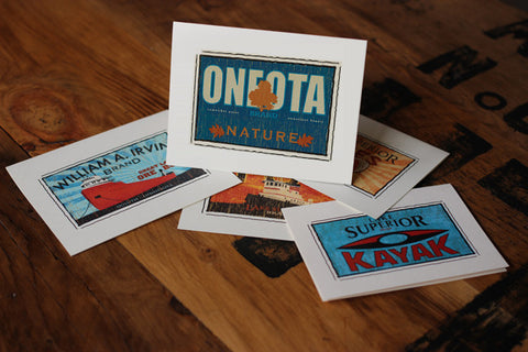 oneota fruit crate label notecards