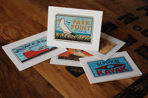 park point fruit crate label notecards